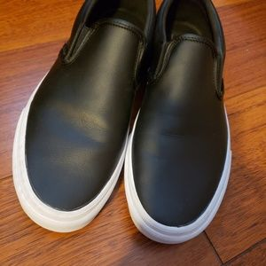 VANS Black leather slipon
